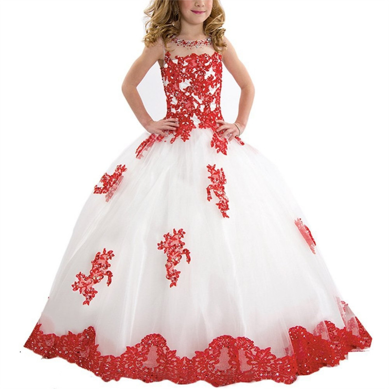 Girls Flower Girl Dress Princess Wedding Party Dresses Pageant Holiday Crossed Back Lace Formal Tulle Flower