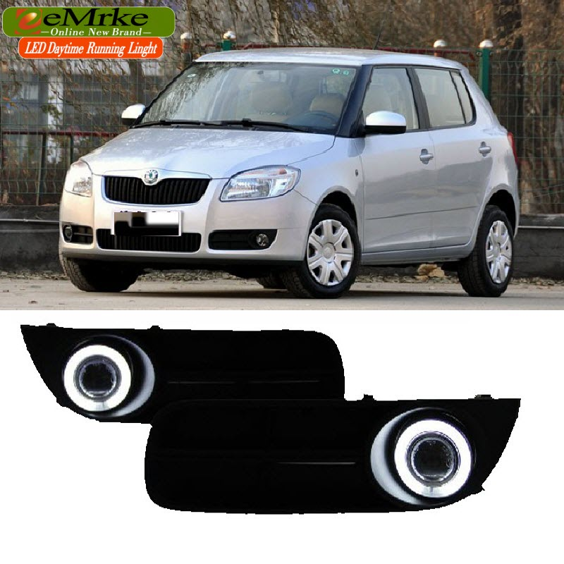 eeMrke For Skoda Fabia 5J MG 2007-2014 LED Angel Eyes DRL Daytime Running Lights Halogen H11 55W Fog Lights eemrke cob angel eyes drl for kia sportage 2008 2012 h11 30w bulbs led fog lights daytime running lights tagfahrlicht kits page 2