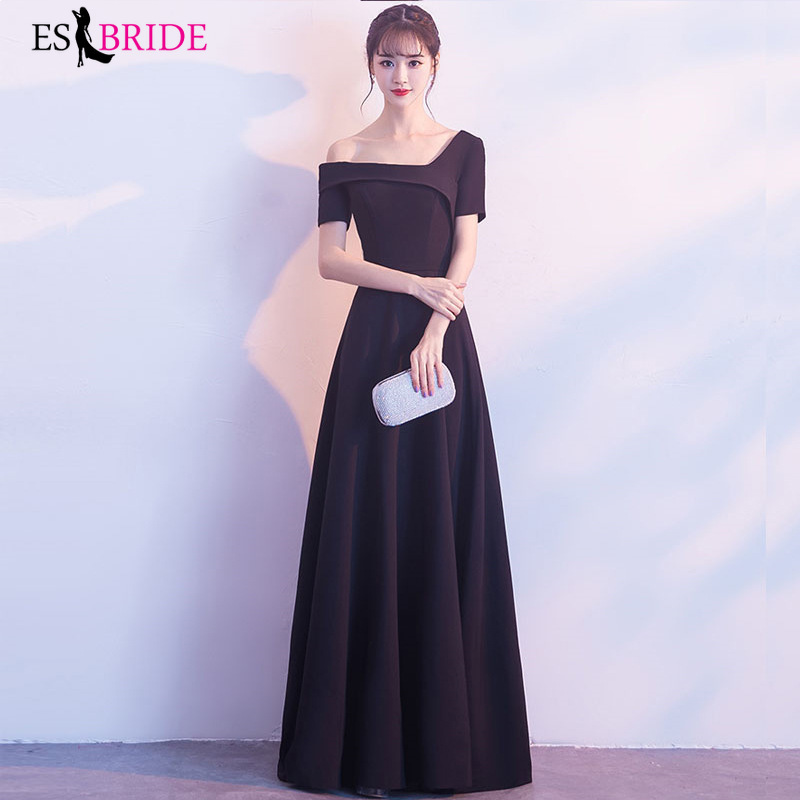 Lace   Evening     Dresses   Long Black Boat Neck   Evening     Dress   New Arrival Short Sleeve Sexy Prom Party Gowns Robe De Soiree ES1192