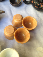 4Pcs Natural Pale Brown Jade Delicate Tea Sets Hand grinding cups