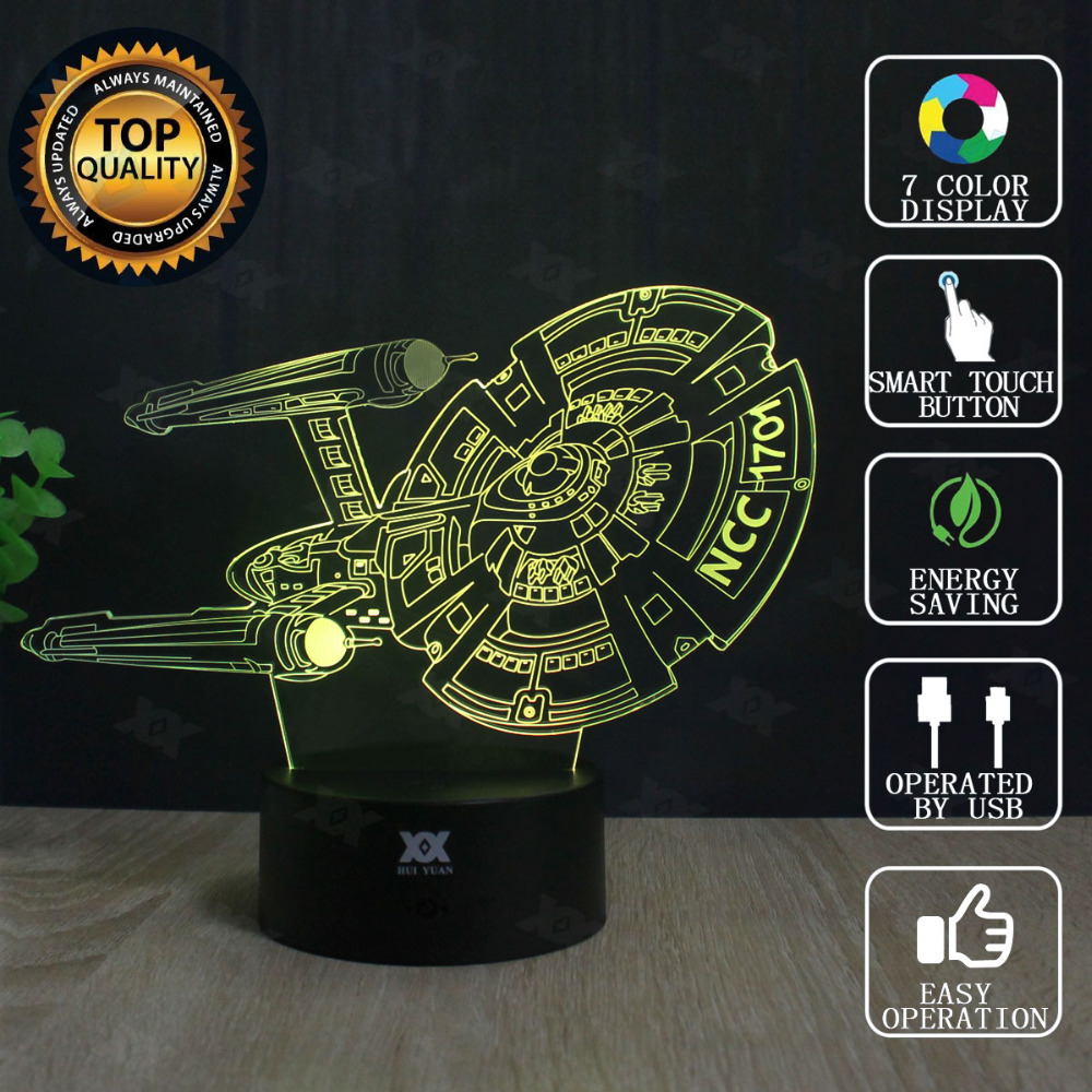 Star Wars Lamp Millennium Falcon Star Trek 3D Lamp LED Novelty Night Lights USB Light Glowing Children's Gift HUI YUAN Brand cool creative pokemon espeon 3d lamp usb cartoon night light led 7 color touch table lamp children christmas gift hui yuan brand