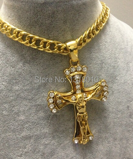 все цены на NEW Golden JESUS CROSS Iced Out Crucifixion Rhinestone Pendant Hip Hop Link Chain Alloy Hipster Necklace Christian Xmas