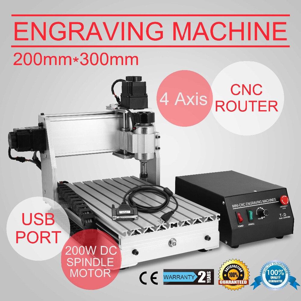USB PORT 800W VFD 3040 CNC ROUTER GRAVIRMASCHINE 4 ACHSE FRÃSEN ENGRAVING FräSer