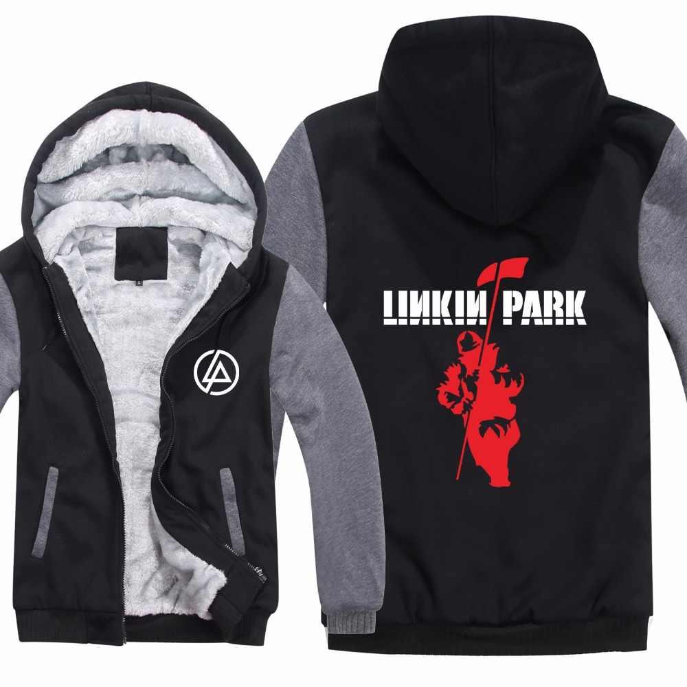 Hip Hop Linkin Park Hoodies Jas Thicken Man Trui Rits Winter Fleece Wol Voering Muziek Rap Linkin Park Sweatshirt