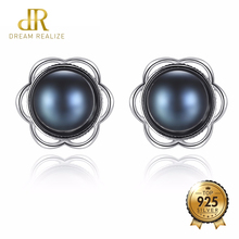 DR Brand Real 925 Sterling Silver Pearls Stud Earrings for Women Wedding Jewelry 8mm To 8.5mm Natural Black Freshwater Pearl