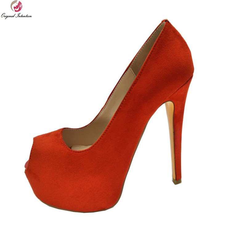 Original Intention New Concise 2018 Women Pumps Platform Peep Toe Thin High Heels Pumps Red Shoes Woman Plus US Size 4-10.5 apoepo brand 2017 zapatos mujer black and red shoes women peep toe pumps sexy high heels shoes women s platform pumps size 43