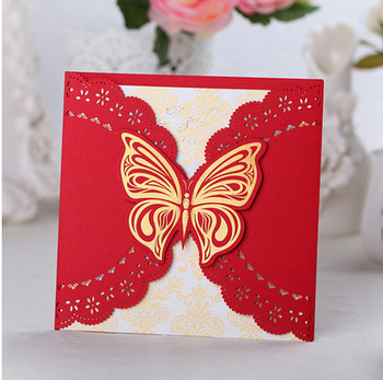 Butterfly Wedding Invitation Card 15*15cm Perfect Quality Chinese Red Including Envelopes And Seals