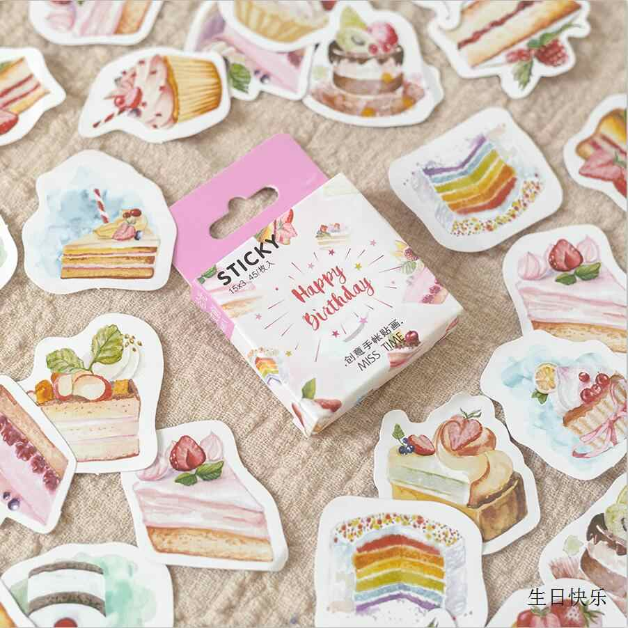 45 pcs Creative Cute Cake Cat Drink Mini Paper Sticker Decoration Diy Ablum Diary Scrapbooking Label Sticker Kawaii Stationery