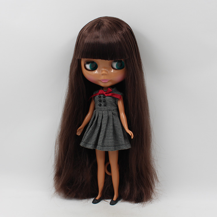 Bjd 16 Nude Blyth Doll Dark Brown Long Hair With Bangs -1684