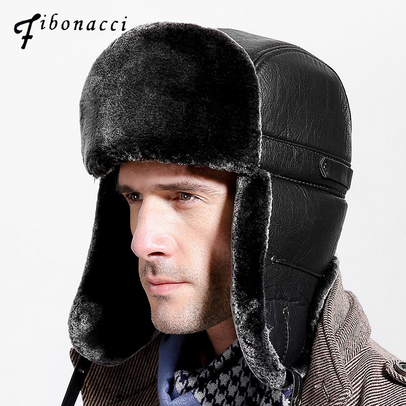Fibonacci Mens hat for winter Brand quality thickening Imitation leather fur hat ear protect bomber hats Russian caps