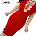 Lace Up Sexy Club Dress Women Hollow Out Split Prom Party Bodycon Dress Elegant Red Slim Casual Dress Robe