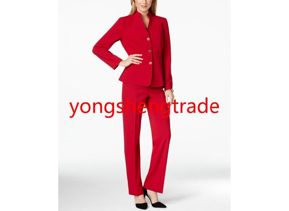 Épaulettes 762 Col Femmes Navy Rouge Pantalon Style Costume Bouton Montant Trois w1Sq841