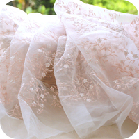 Wholesale 130 150cm White Organza Fabric With Bare Pink Embroidery Fashion Wedding Dress Tulle Skirt Material