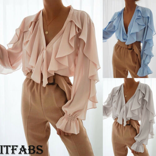 New Fashion Women Chiffon Ruffle V Neck Pure Long Sleeve Blouse Casual OL Ladies Elegant Shirts
