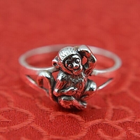 Carve jewelry zodiac monkey female 999 sterling silver ring finger Thai silver auspicious animal ring silver effect