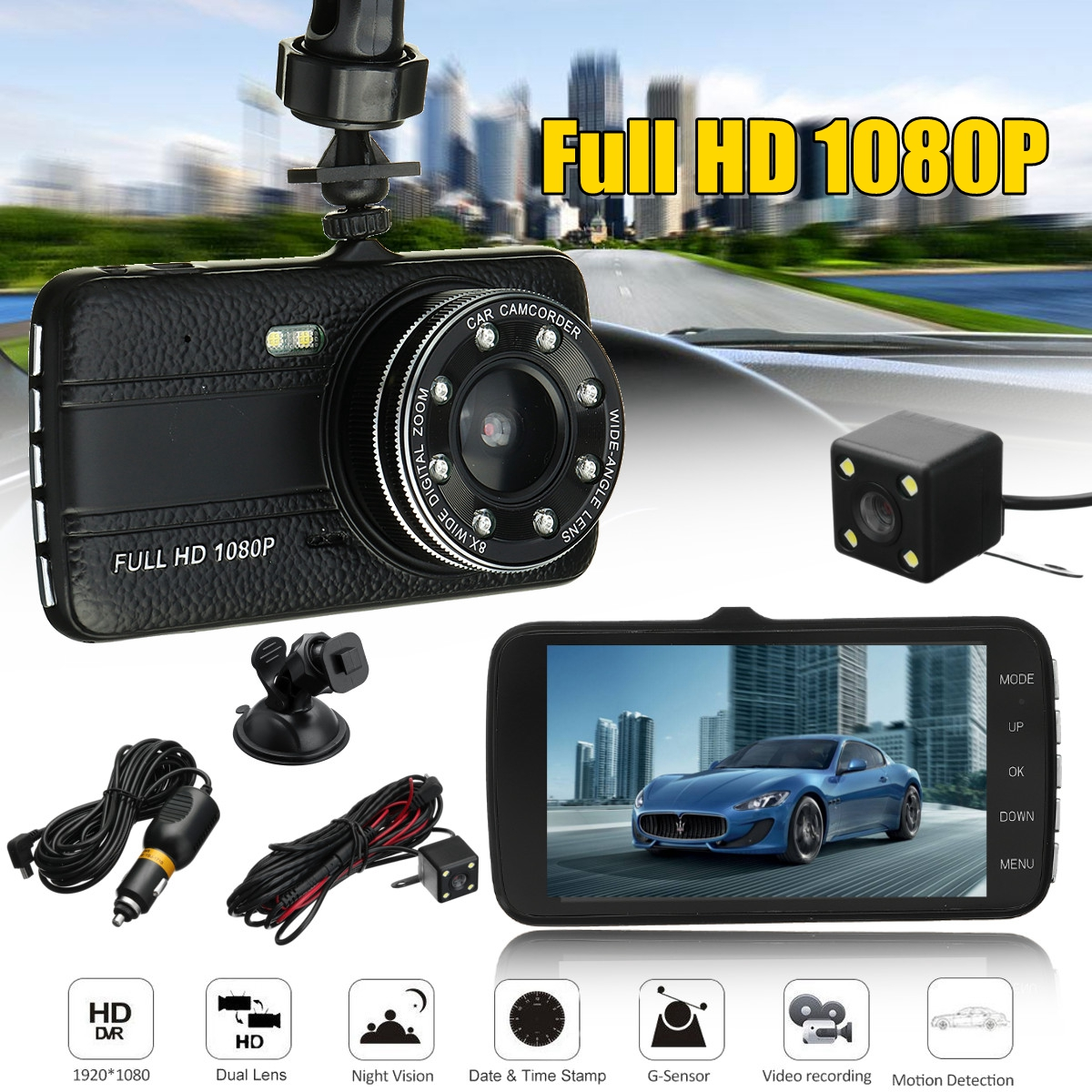 4inch Full screen IPS Screen Dual Lens Car DVR Camera Full HD 1080P Front+Rear View Camera Night Vision dash cam Parking Monitor