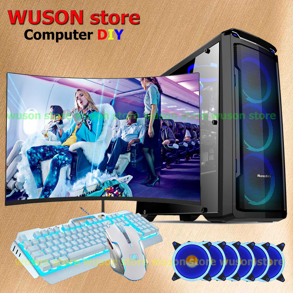 WUSON store computer DIY HUANAN X79 motherboard Xeon E5 2670 CPU 4*8G RAM LED curved screen monitor 120G SSD 500W PSU GTX1050TI getworth s6 office desktop computer free keyboard and mouse intel i5 8500 180g ssd 8g ram 230w psu b360 motherboard win10