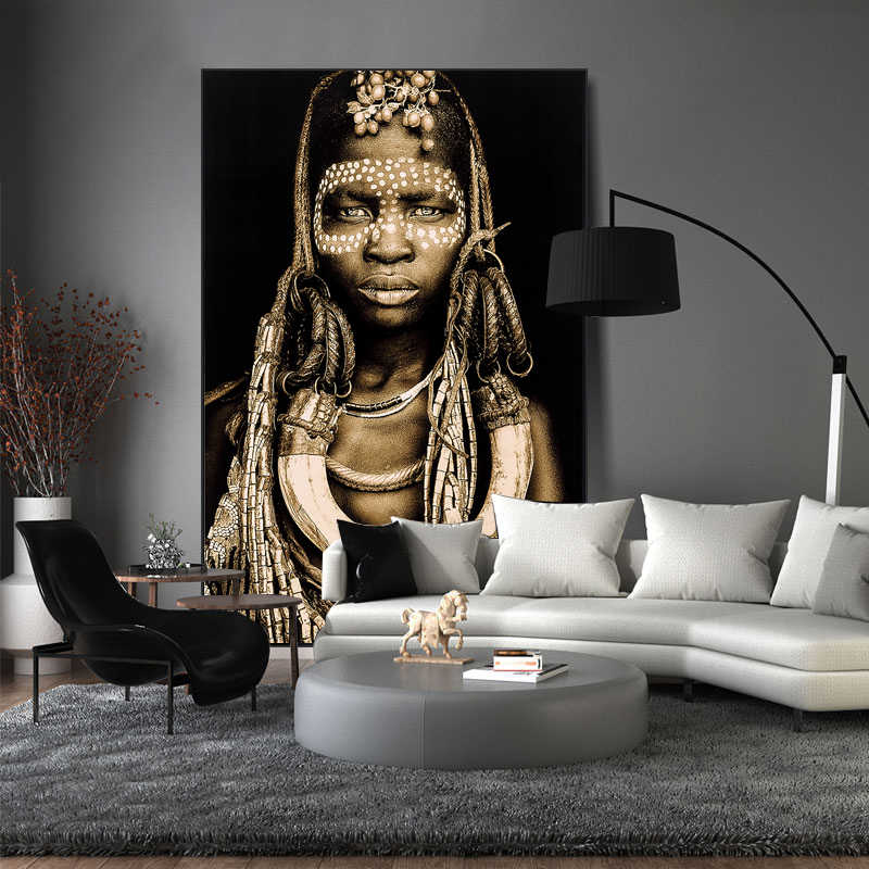 Nordic Poster Vintage Wall Art African Women  Prints Wall Art Canvas Painting Wall Pictures For Living Room Unframed SJ