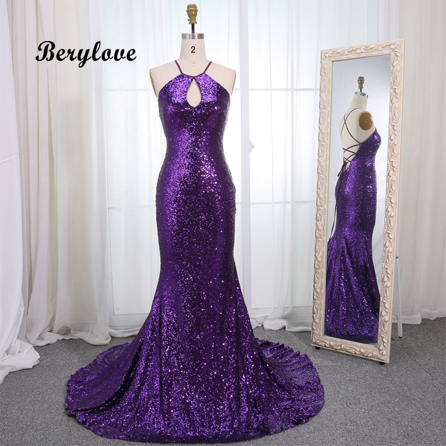 BeryLove Fashion Mermaid Purple Sequin Evening Dresses 2019 Long Backless Evening Gowns Women Elegant Formal Evening Dress Prom