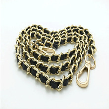 1Pc 125Cm New Metal Bag Chain Purse With Buckles Shoulder Bag Strap Alloy Pu Summer Fashion Pink Bag Belt For Women Hot Sale