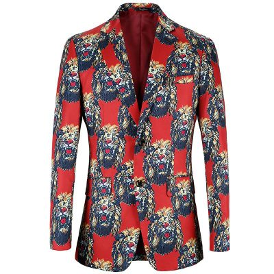 Lion Pattern Leisure Printing Suit Casual Suit Men Korean Version Suit Coat Casacas Blaz ...