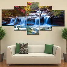 A beautiful waterfall goose swimming in lake 5 Panel HD Print wall posters Canvas Art Painting For home living room decoration naturally beautiful places in india landscape 5 panel hd print wall posters canvas art painting for home living room decoration