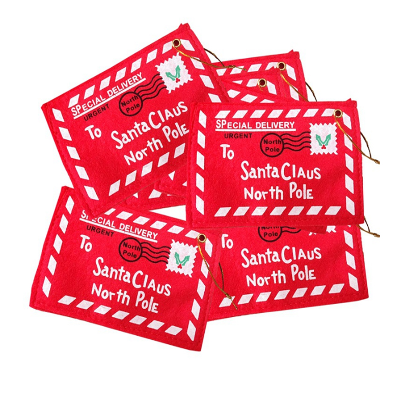 5Pcs Red Christmas Envelope Paper Christmas Greeting Cards Candy Bag Perfect Christmas Gifts For Friends Kids