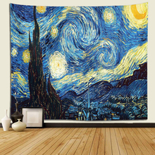 Tapiz de noche estrellada Van Gogh, Pintura abstracta, arte de pared, tapiz colgante de pared azul 3D, decoración del hogar, tapiz de gran tamaño