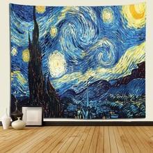Yıldızlı gece goblen Van Gogh soyut resim duvar sanatı 3D mavi duvar asılı goblen ev dekor büyük boy goblen