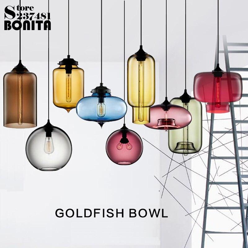 Edison ampoule suspendue lumière chambre restaurant Nordique simple droplight Moderne Vintage pendentif lampe pendentif en verre coloré éclairage