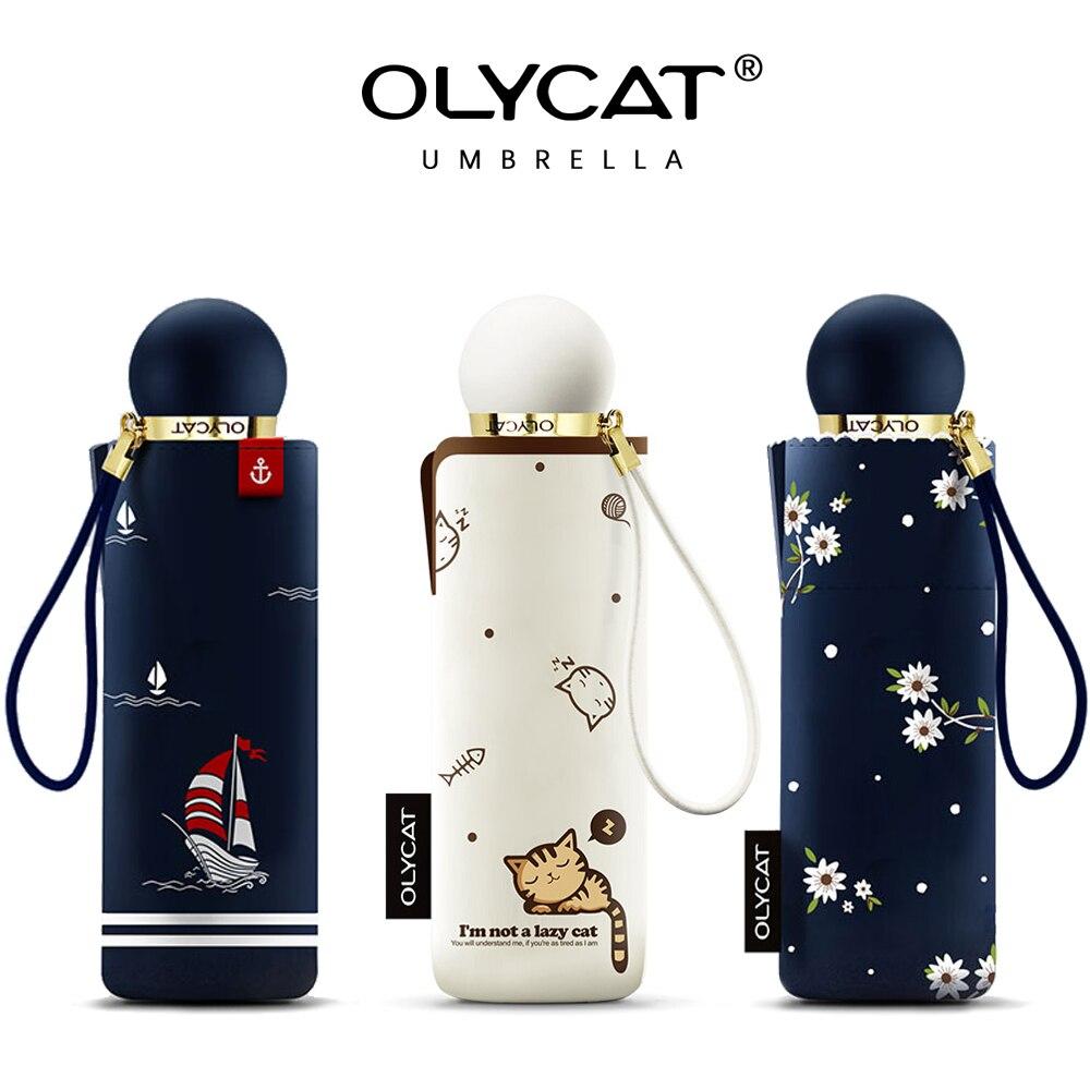 OLYCAT Mini Soleil Parapluie Cinq Pliage Noir Revêtement Portable Poche Femmes Parapluies Marque Coupe-Vent Parasols Parapluie D'été