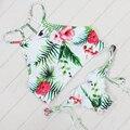 Cruz Sexy Bikini Brasileiro Swimsuit Mulheres Empurrar Para Cima Swimwear Floral Cruz Criss Biquini Bikini Set Alta Pescoço Cortado Maiô