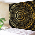 Black Gold Retro Tapestry Wall Hanging Boho Mandala Tapestry Indian Home Decor Art Tapestries Wall Cloth Big Bed Sheets Yoga Mat
