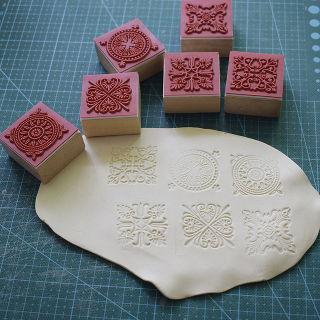 High Quality Square Emboss Stamp Baroque Mandala Lace Texture Sculpture model ceramic polimerica pottery Polymer Clay tools