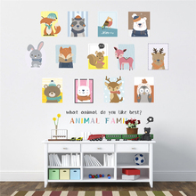 cartoon family animal rabbit bear deer photo Frame wall decals bedroom kids rooms home decor stickers diy poster mural art