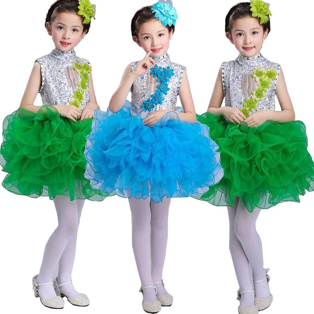 Нарядное платье принцессы для танцев для девочек; Детские бальные платья в стиле джаз и хип-хоп; бальная праздничная одежда; Одежда для девочек с блестками на Хэллоуин и Рождество