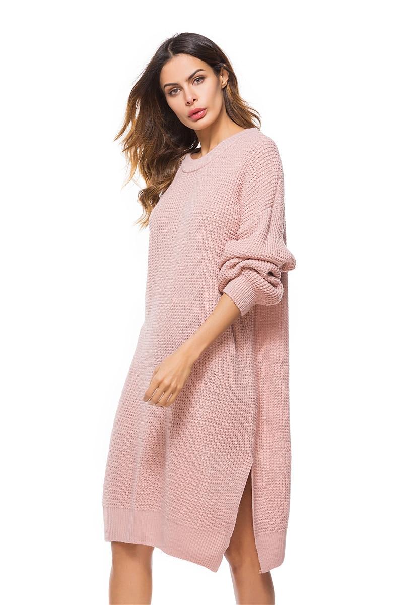 Fall Winter Vintage Mustard Side Slit Crochet Sweater Dress for Women Cute Ladies Retro Cosy Loose Split Pullover One Size 30