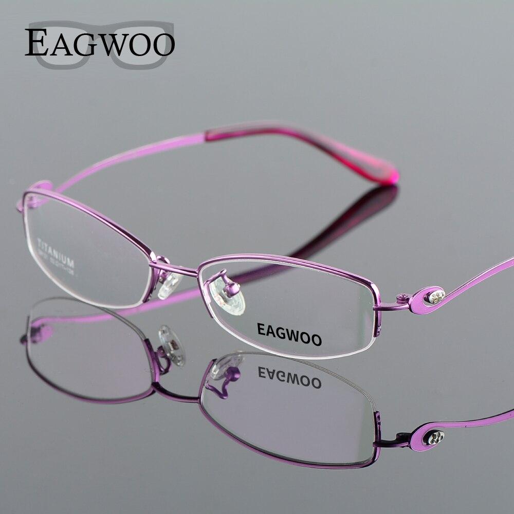 9955dd81816c Pure Titanium Eyeglasses Women Half Rim Optical Frame Prescription Reading  Spectacle Female Designed Myopia Eye Glasses 891211-in Eyewear Frames from  ...