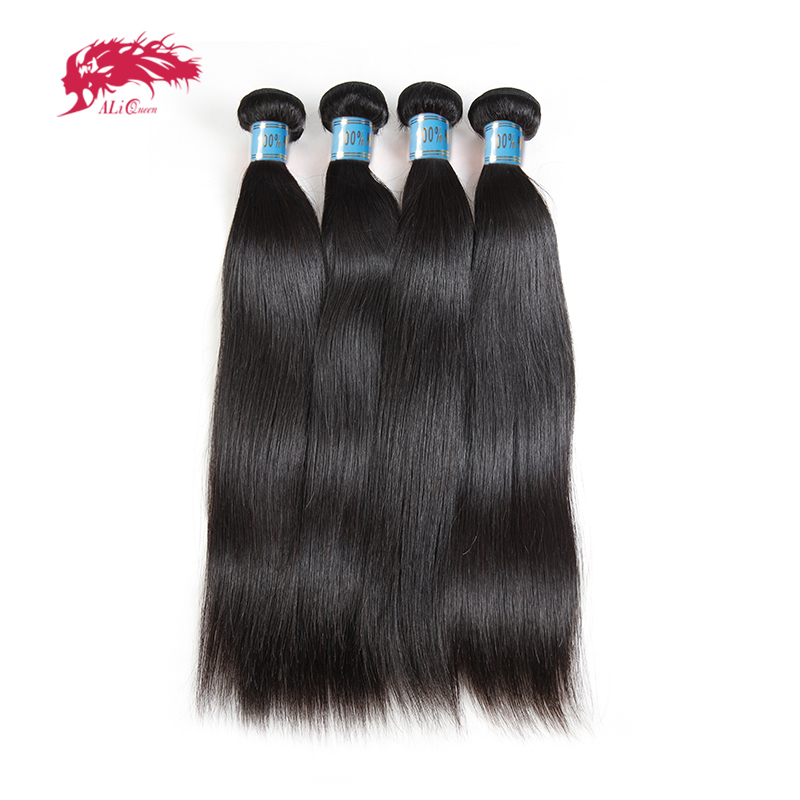 Ali Queen Hair 4pcs Lot Straight Human Hair Weave Bundles Natural Color 8~26 Inches In Stock M/7A Peruvian Virgin Hair Extension