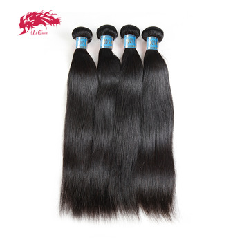 Ali Queen Hair 4pcs Lot Straight Human Weave Bundles Natural Color 8~26 Inches In Stock M/7A Peruvian Virgin Extension - discount item  42% OFF Human Hair (For Black)