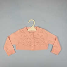 Spring Autumn Fashion Baby Girl Coat Pink WHITE Sweater with pearls Cardigan Outwear All-Matched Cute Girl Clothes