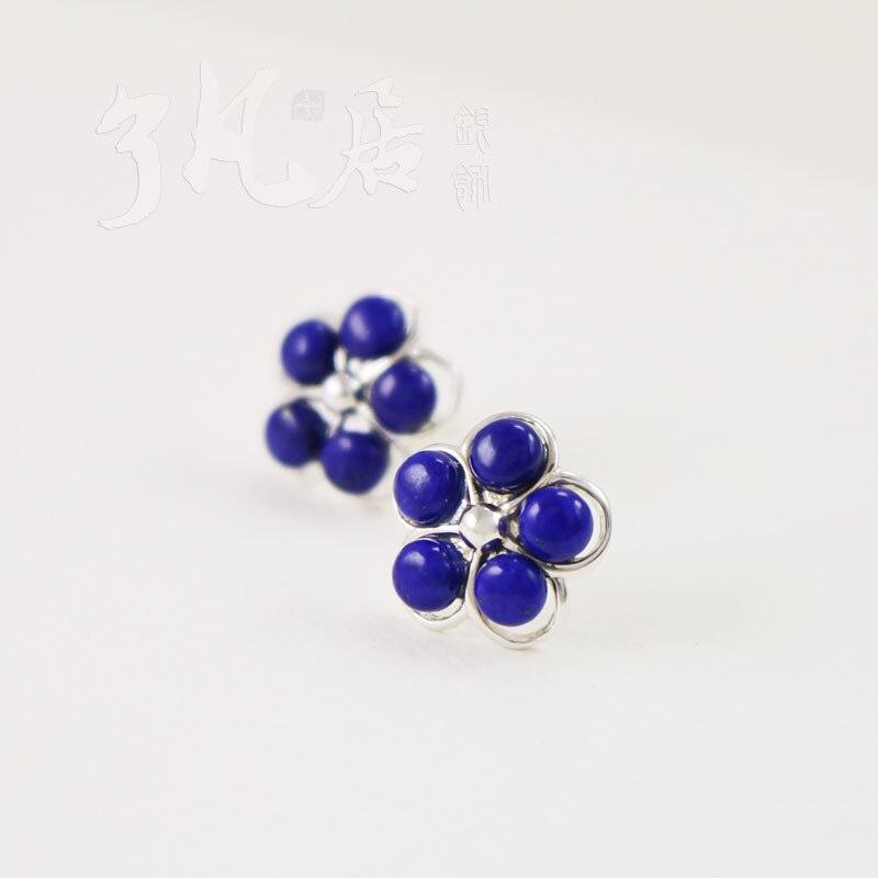 Fleurs naturel Lapis lazuli boucles d'oreilles mode pour les femmes 925 sterling argent fait à la main bleu pierre naturelle boucles d'oreilles 2017 nouveau