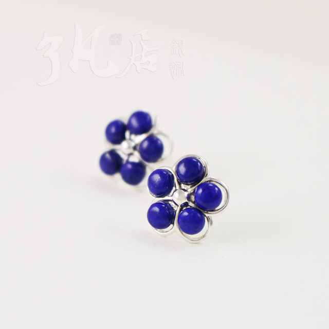 Flowers Natural Lapis Lazuli Stud Earrings Fashion For Women 925 Sterling Silver Handmade Blue Stone