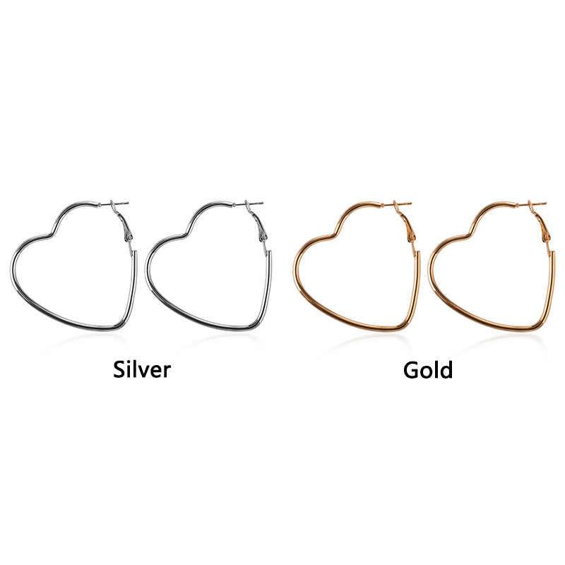 Moda simples romântico jóias oco grande ouro/prata cor coração hoop brincos jovem menina brincos em forma de coração