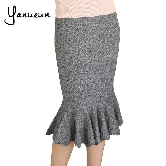 Yanueun корейские женские Модные осень-зима теплые плотные эластичные Высокая талия оборками трикотажные Юбки для женщин женщина Bodycon Трубы юбка