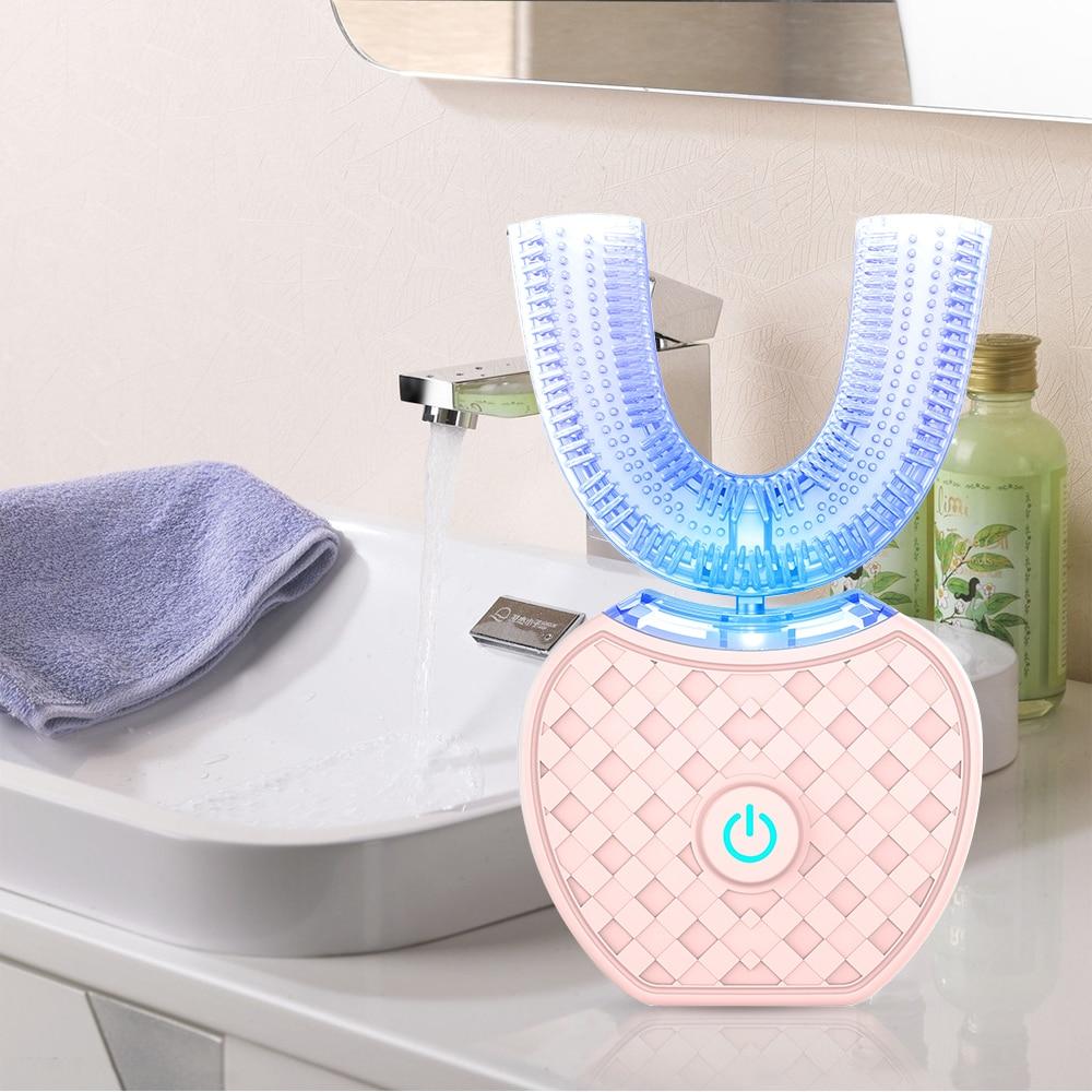 360 grad Intelligente Automatische Sonic Elektronische Zahnbürste USB Aufladbare U Form mit 4 Modi Timer Blau Licht Zahnpasta