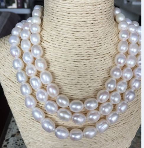 """100% Selling Picture full triple strands 12-13mm south sea white baroque pearl necklace 18""""19""""20"""""""