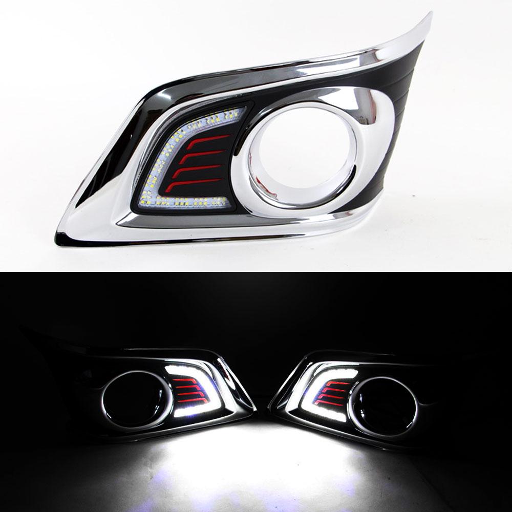 DRL фары дневного света для Toyota Hilux Виго 2012 2013 2014 передняя левая и правая противотуманная фара хром с выключателем