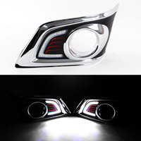 DRL Daytime Running Light for Toyota Hilux Vigo 2012 2013 2014 Front Left and Right Fog Light Chrome Cover with Switch