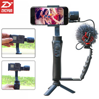 Zhiyun Smooth Q 3 Axis Smartphone Gimbal Stabilizer Selfie Steadicam Set With Microphone Tripod For IPhone